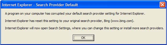 Corrupted Search Provider