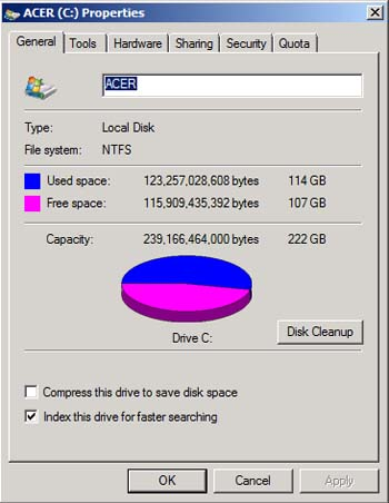 Disk Cleanup screen