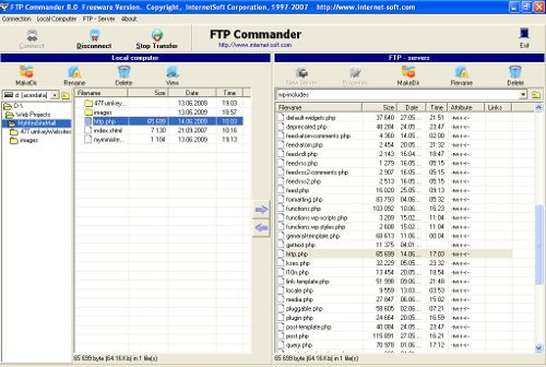 Screenhot of FTP Transfer using FTP Commander