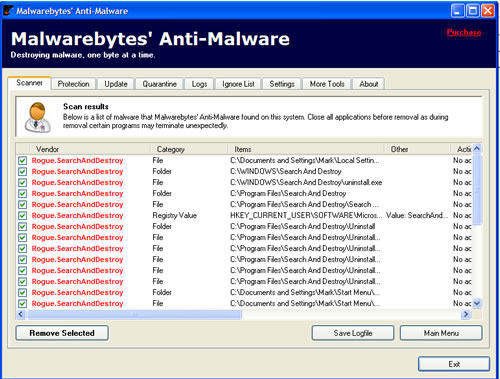 Search and Destroy Scan Results from Anti-Malware