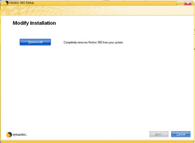 Removal of Norton Antivirus