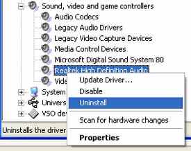 Realtek Audio Uninstall