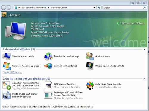 Windows Vista Welcome Center