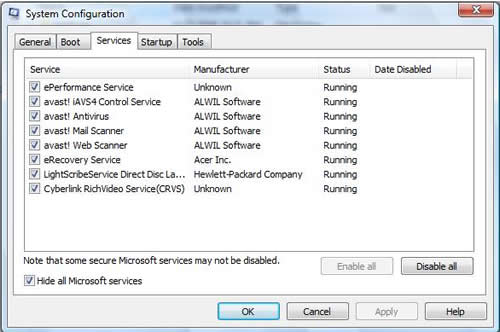 Screenshot of MSConfig Services tab